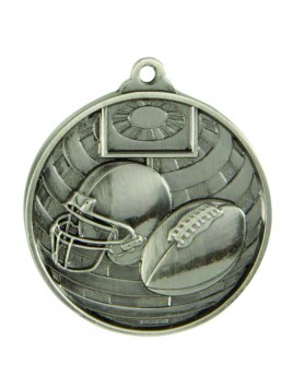 Medal - Two Tone Gridiron Silver 50mm