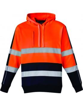 Hoodie Hi Vis Stretch Taped Unisex - Orange/Navy
