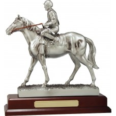 Silver Jockey on Horse 130mm