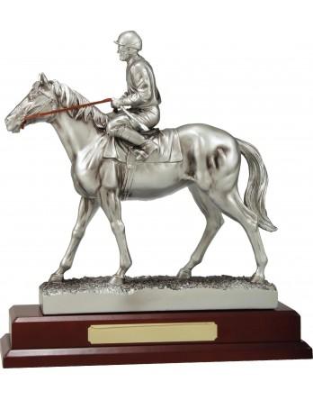 Silver Jockey on Horse 130mm