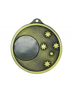 Generic 5 Star 50mm Antique Gold Medal with 25mm Insert