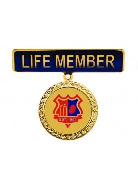 Two Piece Life Member Badge - Black