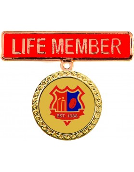 Two Piece Life Member Badge - Red