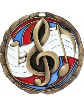 Medal - Music Gold Stained Glass 65mm