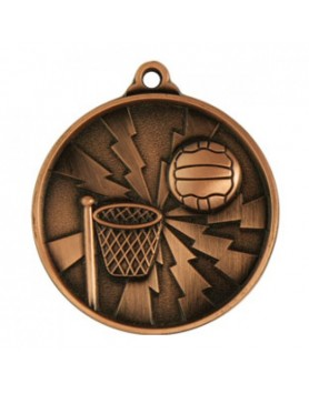 Netball Heavy Two Tone Medal 50mm - Bronze
