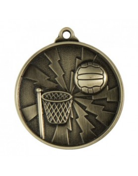Netball Heavy Two Tone Medal 50mm - Silver