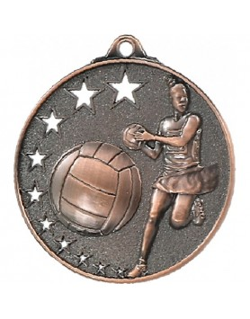 Netball Hollow Star Series Medal 52mm - Bronze