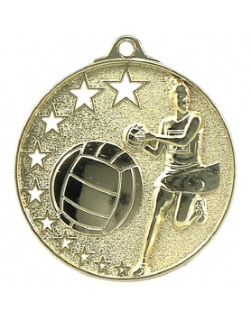 Netball Hollow Star Series Medal 52mm - Gold