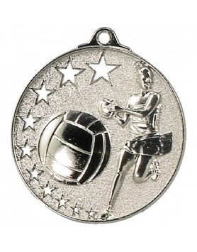Netball Hollow Star Series Medal 52mm - Silver