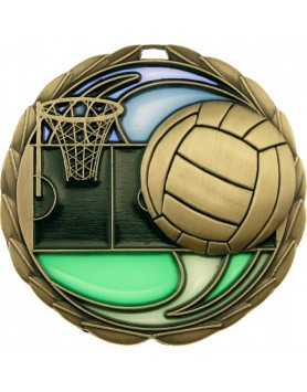 Netball 3D Stained Glass Medal 64mm - Gold