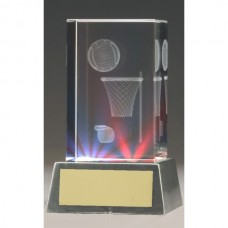 Netball 3D Crystal with Light Up Base 110mm