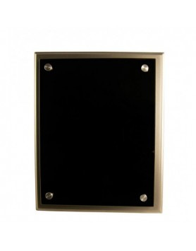 Plaque Black Glass on Silver Timber 200x250mm