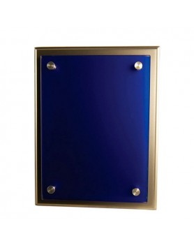 Plaque Blue Glass on Silver Timber 175x225mm