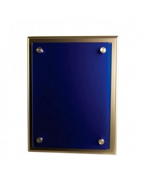 Plaque Blue Glass on Silver Timber 200x250mm