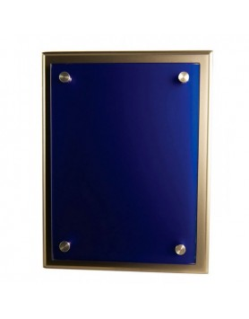 Plaque Blue Glass on Silver Timber 250x300mm