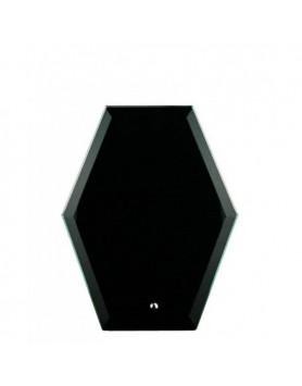 Glass Plaque Hexagonal Black 165mm