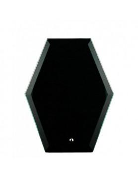 Glass Plaque Hexagonal Black 195mm