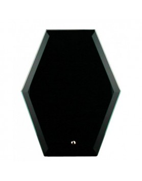 Glass Plaque Hexagonal Black 225mm
