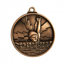 Swimming Heavy Two Tone Medal 50mm - Bronze