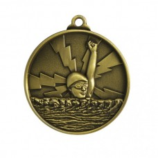 Swimming Heavy Two Tone Medal 50mm - Gold
