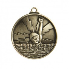 Swimming Heavy Two Tone Medal 50mm - Silver
