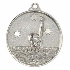Swimming Heavy Stars Medal 50mm - Silver